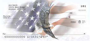 God Bless America Patriotic Eagle and Flag Check Designs Home Desk Checks