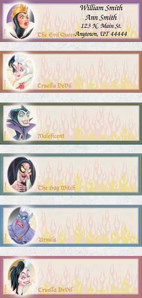 Disney Legendary Villains Booklet of 150 Address Labels