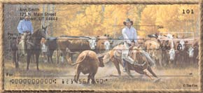 """Cowboy Round Up"" Personal Check Designs"