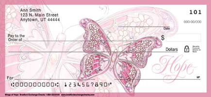 Wings Of Hope Pink Butterfly Checks